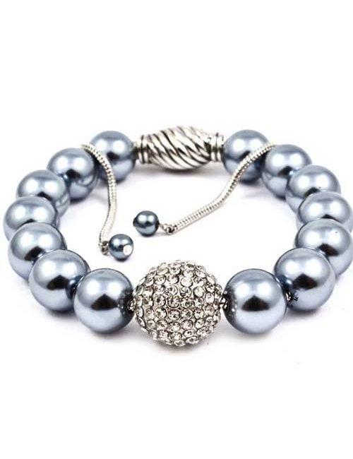 Faux Pearl Crystal Stone Bracelet