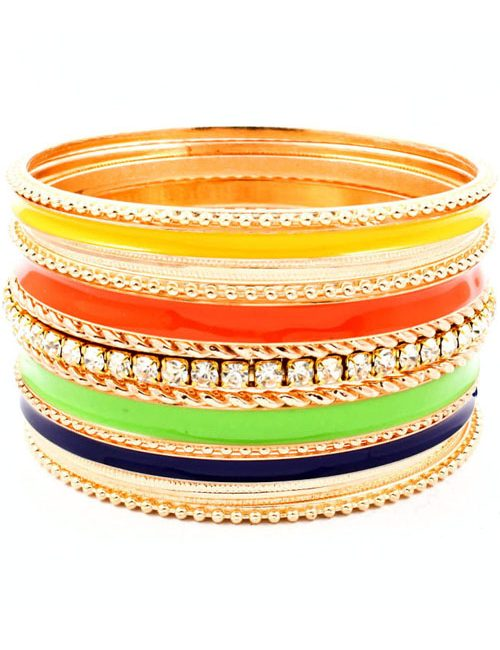Multi-Colored Crystal Stackable Bangles