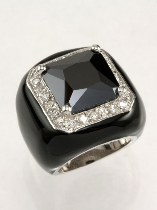black cubic zirconia enamel ring