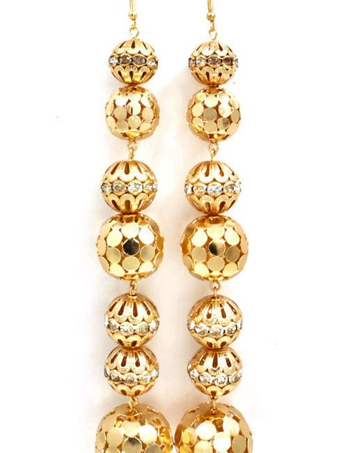 crystal shoulder duster earrings - gold