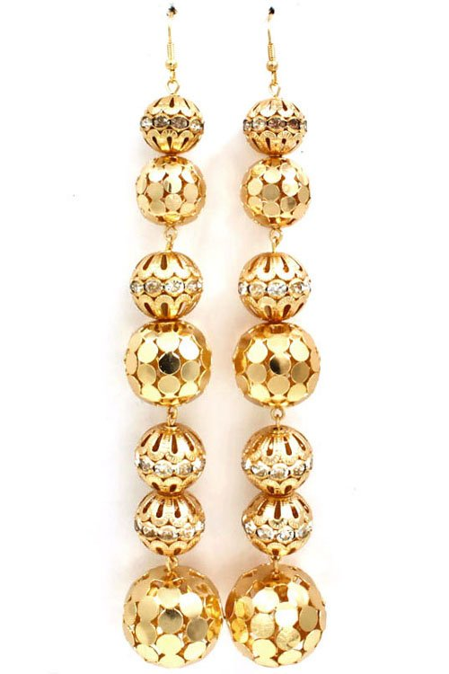 crystal shoulder duster earrings - gold
