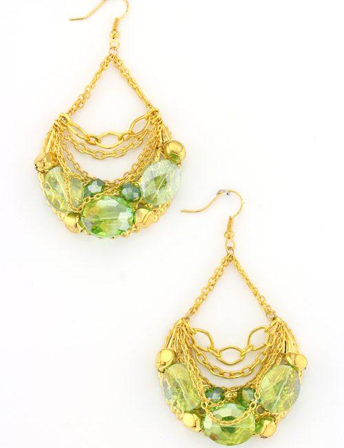 green gemstone chainlink earrings