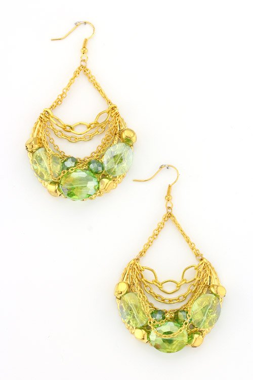 green gemstone chainlink earrings