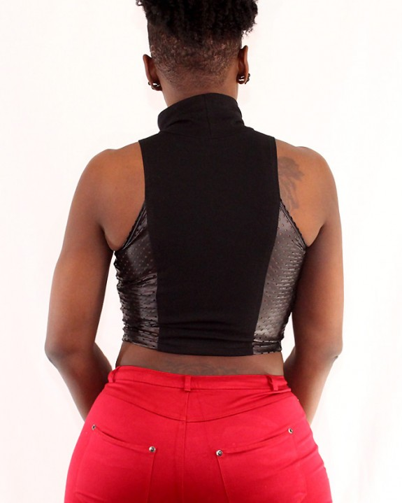 Perforated-Faux-Leather-Crop-Top-Back