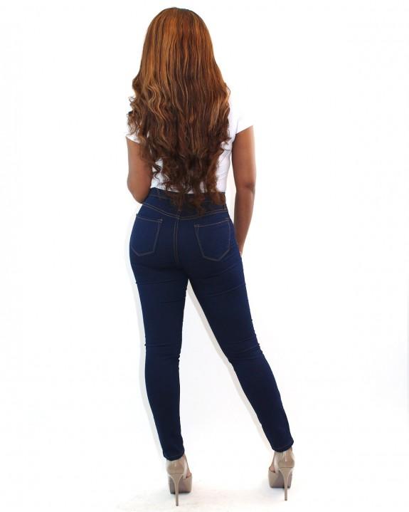 Dark Denim High Waisted Jeans - Back