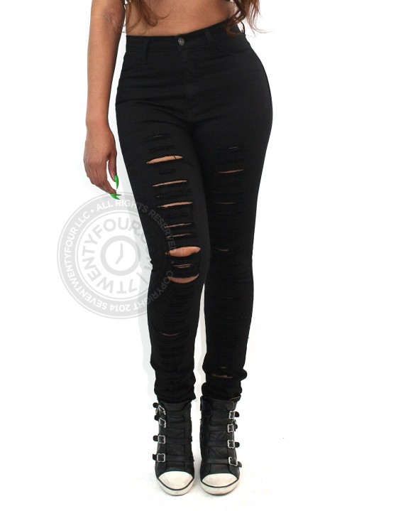 Ripped-Black-High-Waist-Jeans-Front