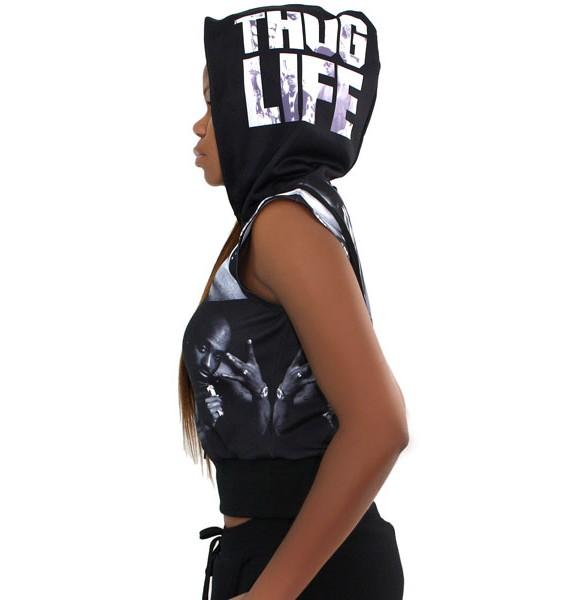 Thug Life Cropped Hoodie - Side