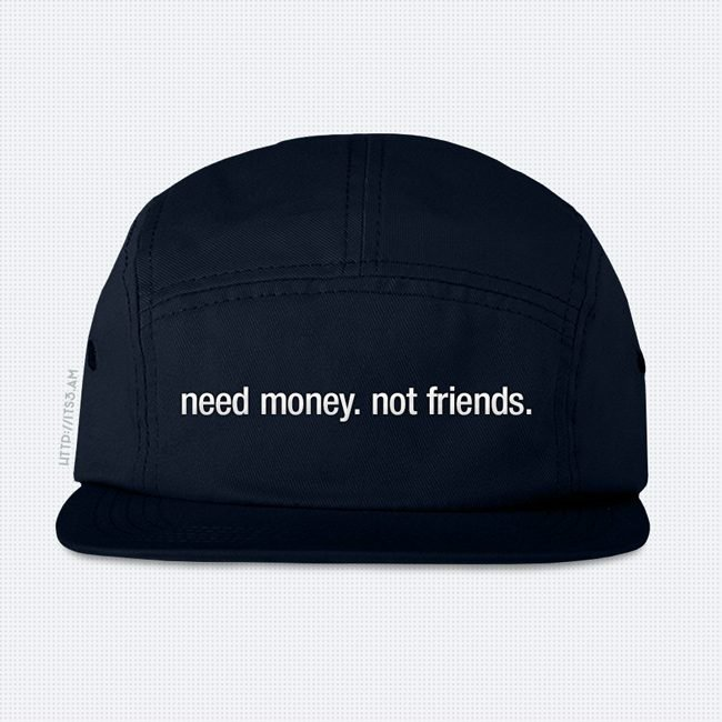Need Money Five Panel Hat - Navy