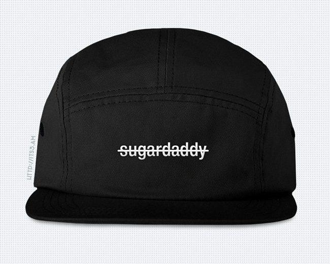No Sugardaddy Five Panel Hat - Black